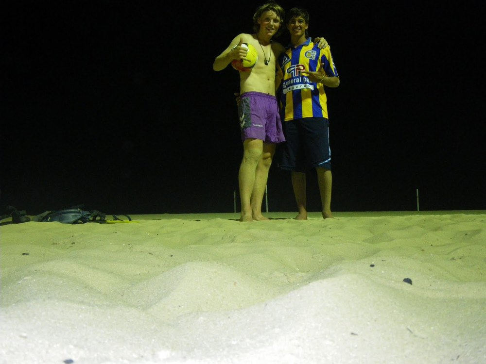 Playing soccer at Copacabana Beach with Gitano Mustachi