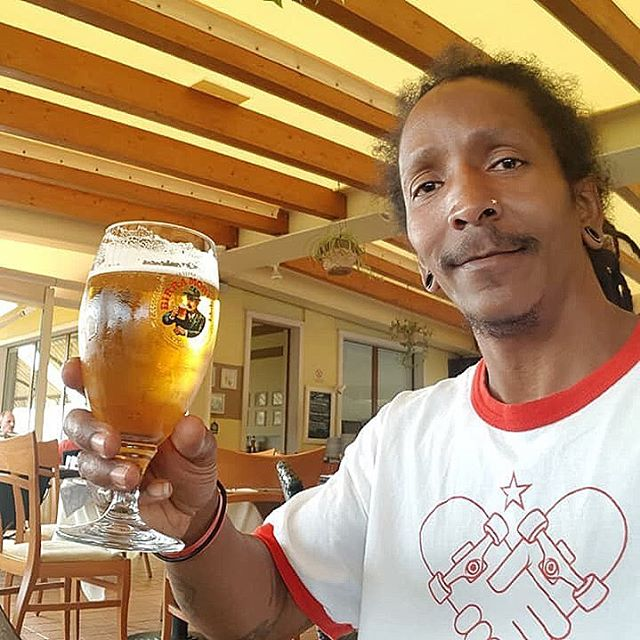 Amigos all over the world... @veteran_wax_skateboarding wearing our classic Amigo Heart Logo and enjoying a cold one in Malmo, Sweden. Take some time to slow things down this weekend; relax and let things chill until Monday. #amigoskatecuba #malmo #sweden #amigo #skateandexplore #cuba #skateboard #family #cuban #skater #livingabroad #goodtimes #relax #enjoyinglife #thankyouskateboarding