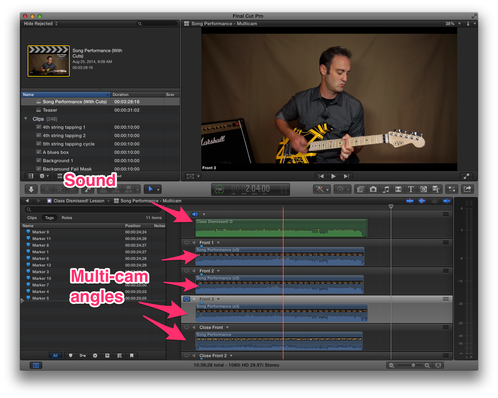 The Multicam clip. All of the video clips are lined-up perfectly in-sync with the final audio clip (in green).