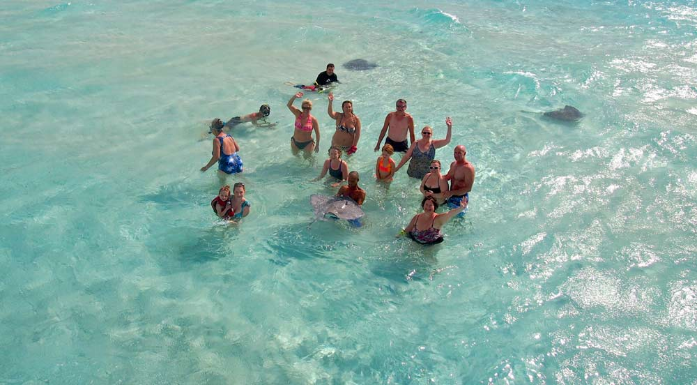 The choppy waters at the Stingray City Sandbar were no match for our awesome guests!
