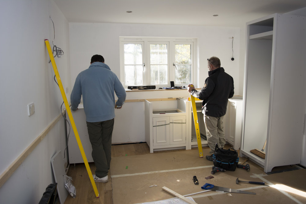 The kitchen is being installed.