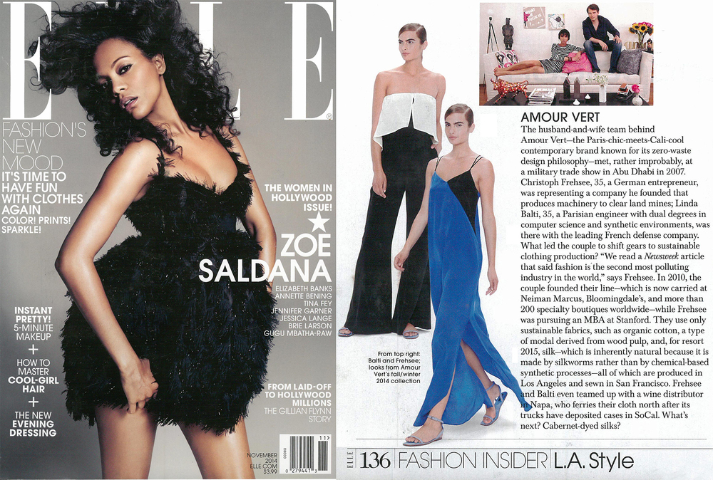 Images shot for Amour Vert featured in ELLE magazine