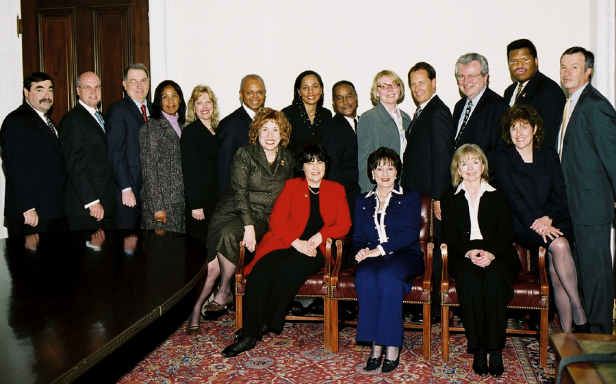Representatives from the winning companies and WBENC executives are shown as follows: (first row seated from left to right)  Susan Phillips Bari, President, Women's Business Enterprise National Council; Joan Kerr, Executive Director, Supplier Diversity Programs, SBC Communications, Inc. and Chair of WBENC's Board; Paula Mann, President and CEO, Sunbelt Communications and Chair of WBENC's Top Corporations Selection Committee; Rebecca Roberts, President, Global Power Generation, ChevronTexaco; and Maureen Merkle, President, Procurement, SBC Communications, Inc.    Second row standing from left to right:  F. Robert Salerno, President & CEO, Cendant Car Rental Group; Richard Wistrand, Senior Vice President & Chief Fossil Officer, TXU; David Rader, Senior Vice President Finance and CFO, Frito-Lay Division, PepsiCo, Inc.; Mirian Graddick-Weir, Executive Vice President, Human Resources, AT&T; Lisa Martin, Vice President, Global Sourcing, Pfizer, Inc.; Theo Fletcher, Vice President, Supply Chain Compliance, Security & Diversity, IBM Corporation; A. Shuanise Washington, Vice President Government Affairs Policy and Outreach, Altria Group, Inc.; Bruce Perkins, Vice President, Manager, Supplier Diversity and Business Development Group, Merrill Lynch; Joyce M. Wichie, Director, Supplier Diversity, Worldwide Purchasing, Eastman Kodak Company; Dick Anderson, Vice Chairman, Planning & Administration, BellSouth Corporation; John D. Hofmeister, President and Country Chair, Shell Oil Company; Robert McCormes-Ballou, Director, Vendor Diversity, Office Depot; and Michael L. Eskew, Chairman and Chief Executive Officer, UPS.