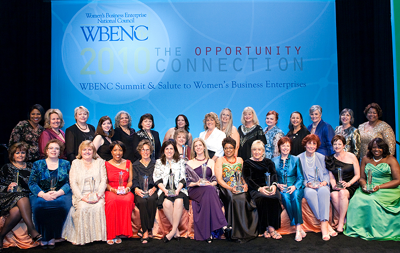 (Click photo for enlarged view) Standing, L to R: Pamela Williamson - Executive Director, Women's Business Enterprise Council-West; Susan Rittscher - CEO & President, Center for Women & Enterprise; Geri Swift - President, Women's Business Enterprise Council-PA-DE-sNJ; Liz Cullen - Executive Director, Women's Presidents' Educational Organization-DC; Rea Waldon - Executive Director, Ohio River Valley-Women's Business Council; Marsha Firestone - President & Founder, Women's Presidents' Educational Organization-NY; Susan Repka - Executive Director, Women's Business Enterprise Alliance; Pamela Prince-Eason, WBENC Board Chair and Vice President, Worldwide Procurement, Pfizer Inc; Debbie Hurst - President, Women's Business Council-Southwest; Diane McClelland, President, Astra Women's Business Alliance; Michelle Richards - President, Women's Business Enterprise Council-Great Lakes; Nancy Allen - President & CEO, Women's Business Development Center-Florida; Linda Denny - WBENC President & CEO; Blanca Robinson - President, Women's Business Enterprise Council South; Roz Lewis - Executive Director, Greater Women's Business Council. Not pictured: Carol Dougal & Hedy Ratner - Co-Presidents, Women's Business Development Center-Chicago. Seated, L to R: WBE Stars Laurie Travis - President, LT Evention; Kari Heistad - CEO, Culture Coach; Judith Zimmermann - President & CEO, Artcraft & Foremost; Jennifer Collins - President, The Event Planning Group; Katherine Mlakar - Chairman of the Board, The Millcraft Paper Company; Julie Levi - President, Progressive Promotions, Inc.; Sue Pistone - CEO/President, Sue Pistone & Associates; Kimberly Holstein - President/CEO and CIO, Kim & Scott's Gourmet Pretzels; Terri Quinton - President, Q2 Marketing Group; Denise Kanaar - CEO, D & D Logistics LLC; Sandy Hunter - President, Hunter Hawk; Claudette Stroble - President, Orlando Conference Management Group, Inc.; Michele Vignes - President/CEO, Universal Personnel, LLC; LaSonya Berry - CEO, McPherson, Berry & Associates, Inc.