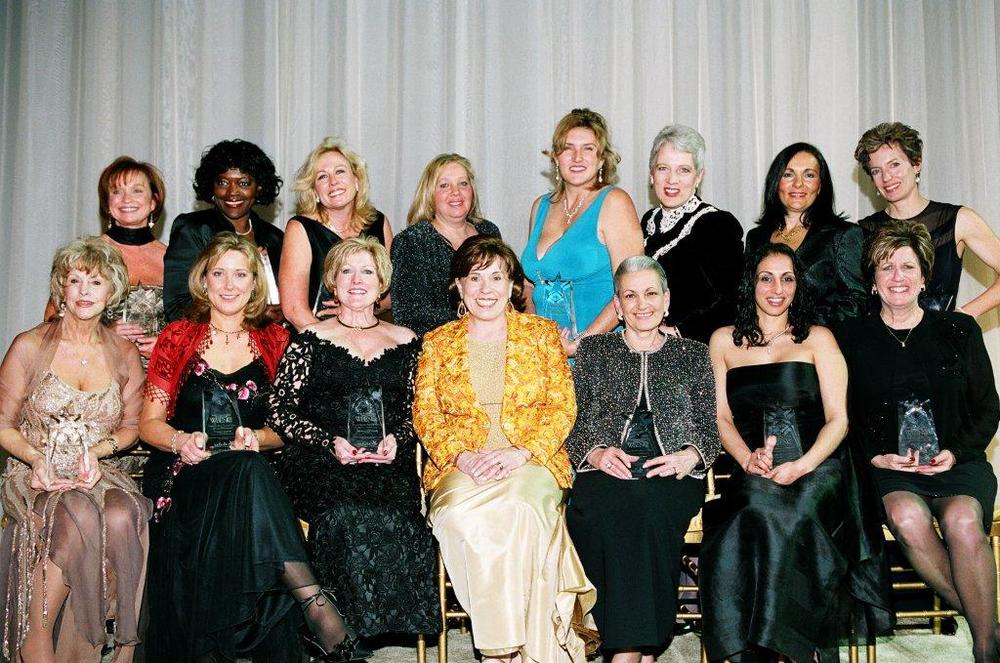 (Front row seated from left to right) Billie Bryant, CESCO, Inc.; Connie Rankin, Customized Real Estate Services, Inc.; Maureen O'Connor, LEM Products; Susan Phillips Bari, WBENC; Maureen Beal, National Van Lines, Inc.; Annette Fabozzi, Island Computer Products, Inc.; Brenda Loube, Corporate Fitness Works; (Back row standing from left to right) Sheila Benson, Employment Screen Services; Sandra Floyd, Outsource Consulting Services, Inc.; Sandra Davis, Applied Computer Solutions; Cara Shelton-Kass, Hi-Tech Imaging; Terri Hall, Doubletake Studios, Inc.; Beverly Wall, Languages International; Patrice Kouvas, AVI Foodsystems; Trish Karter, Dancing Deer Baking Company.