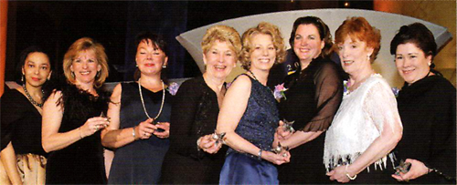 L-R: Sandra Rand, Manager, Supplier Diversity, United Airlines; Barbara Woyak, President and Chief Executive Officer, Future Trends Technology Management; Lisa M. Witomski, President, T. Frank McCall's, Inc.; Sheila Hale Ogle, Chief Executive Officer, MRPP, Inc.; Caroline Nault, President, Exhibits South; Carol Muszynski, President, Eighth Day Design; Frances Mills, Owner, Cajun Treats; Nancy Michaels, President and Chief Executive Officer Impression Impact