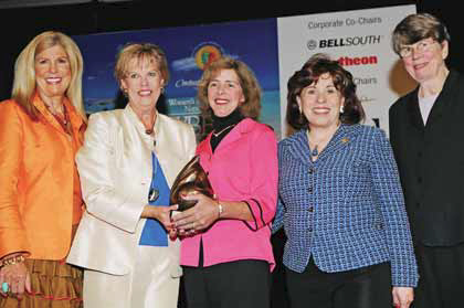 Melanie Sabelhaus, former Deputy Administrator, United States SBA (left), Janet Reno, former Attorney General, United States (far right), presenting the Applause Award to WIPP (Terry Neese, left and Barbara Kasoff, right).