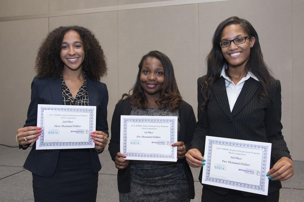 Pitch Competition Winners, left to right: Jasmine Curtis (Cornell University), Fon Powell (Cornell University), 1st Place Winner, and Naomi Thomas (University of North Carolina Greensboro)