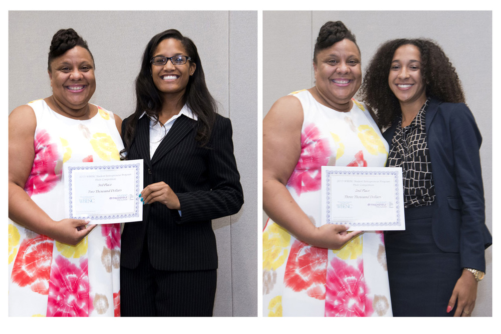 Left photo: Theresa Harrison, Director of Supplier Diversity, Ernst & Young with 3rd Place Pitch Competition Winner, Naomi Thomas (University of North Carolina Greensboro)  Theresa Harrison with 2nd Place Pitch Competition Winner, Jasmine Curtis (Cornell University)