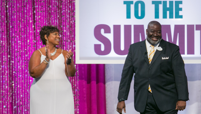 From L to R: Candace Waterman, WBENC Chief of Staff; Eugene Campbell, Walt Disney Company Vice President of Supplier Diversity introduce the WBENC Special Offer at the 2016 Summit & Salute.