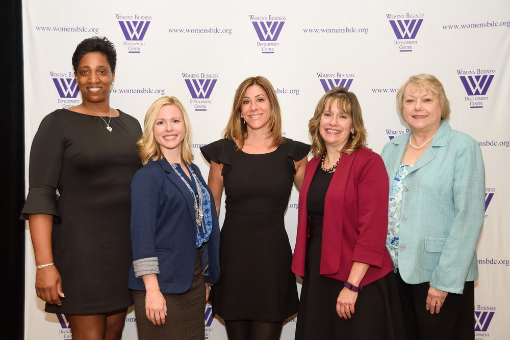 Featured speakers and Mistress of Ceremonies with Geri (left to right): Sharon Leaks Morgan, S & B Organic Cleaning Solutions LLC; Michelle Carfagno, The Greater Knead; Wendy Saltzman, 6abc Action News Investigative Reporter; Peggy DelFabbro, M. Davis & Sons, Inc.; Geri Swift, President, Women's Business Development Center