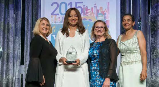 Presenting the Applause Award  Left to Right: Pamela Prince-Eason, President & CEO, WBENC; Beverly Jennings, Head, Office of Global Supplier Diversity & Inclusion, Johnson & Johnson; Pat Birmingham, VP, Marketing, WBENC; Benita Fortner, Chair WBENC Board