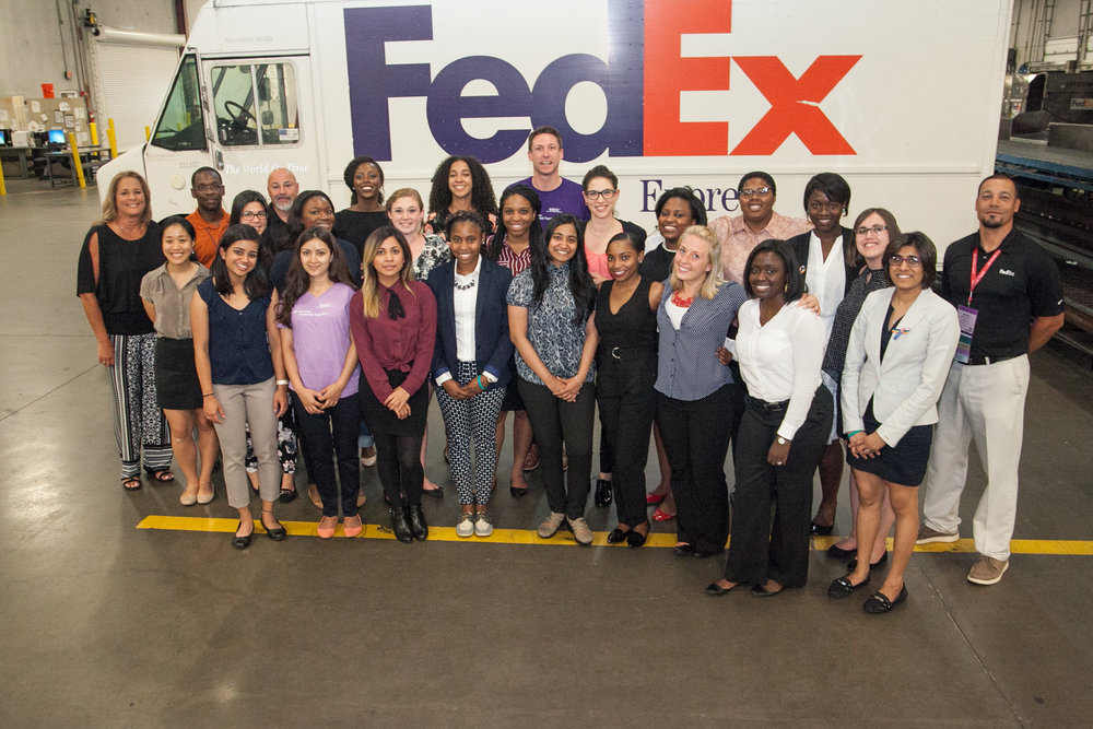 2016 SEP Student cohort at off-site experience with 2016 title sponsor FedEx.
