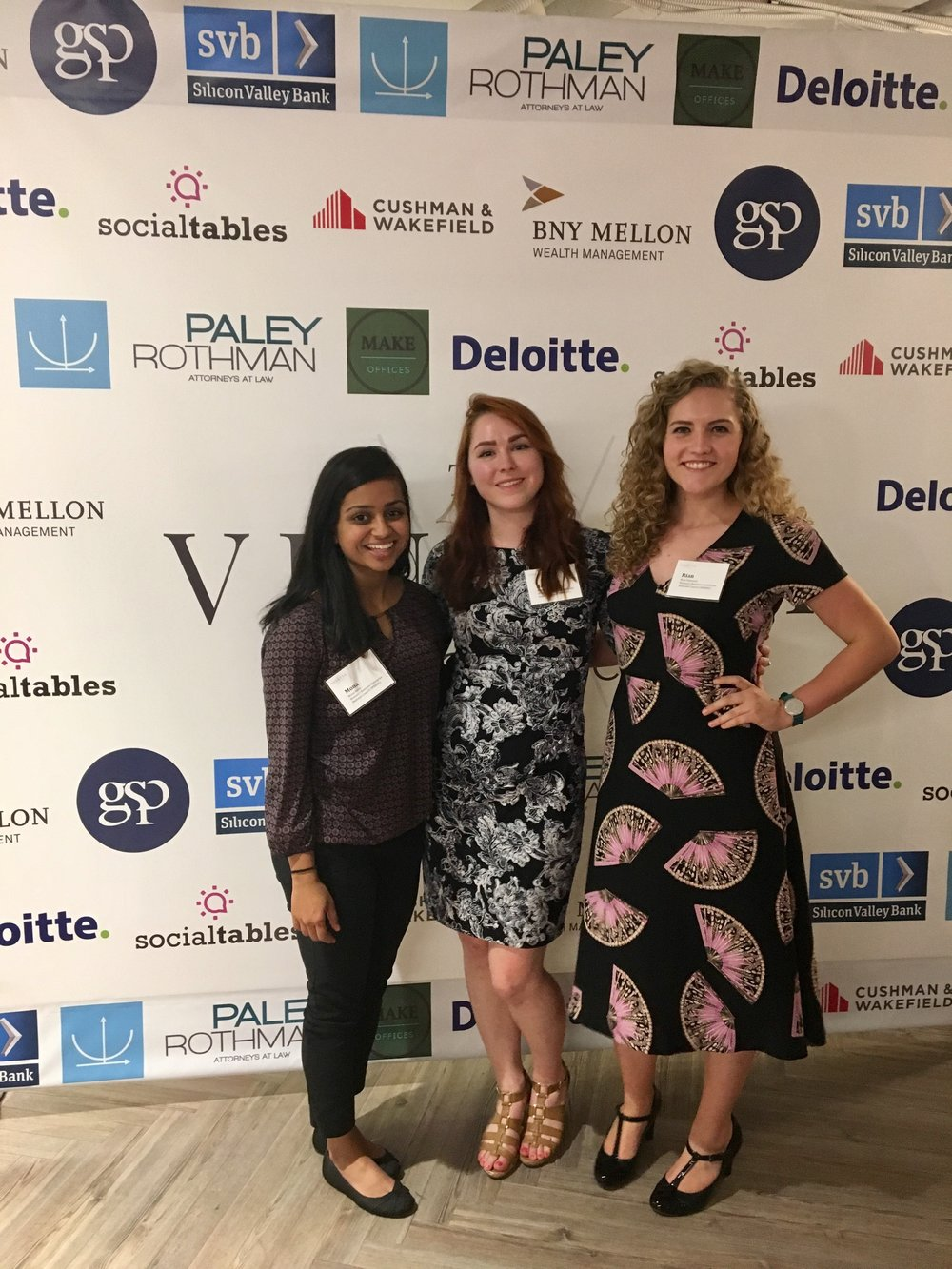 Mona Amin, Executive Associate, Hannah Brown, Executive Associate and RIan Edwards, Business Development Outreach Lead at the Vinetta Project Venture Challenge Showcase