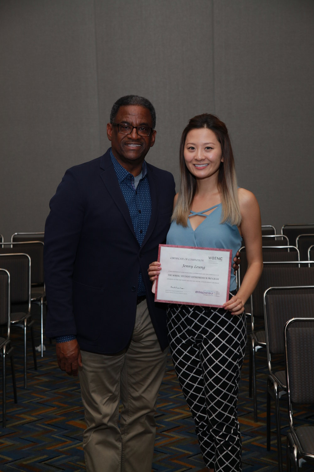 Jenny with Michael Byron, Senior Director of Supplier Inclusion at Walmart Inc., who sponsored the sixth place award.