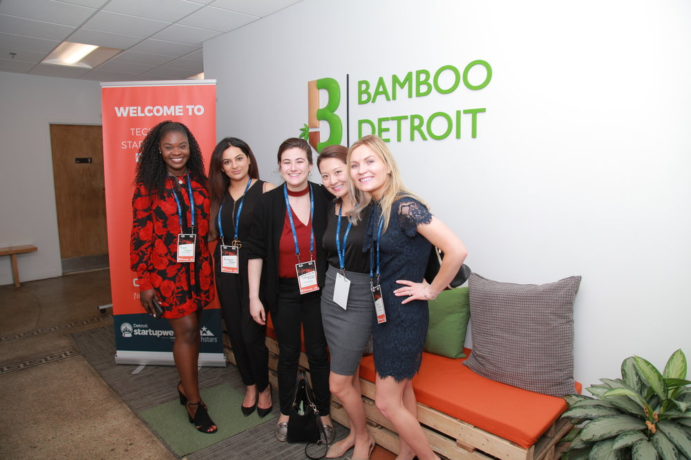 Jenny and fellow student entrepreneurs during a stop at Bamboo Detroit, a co-working space.