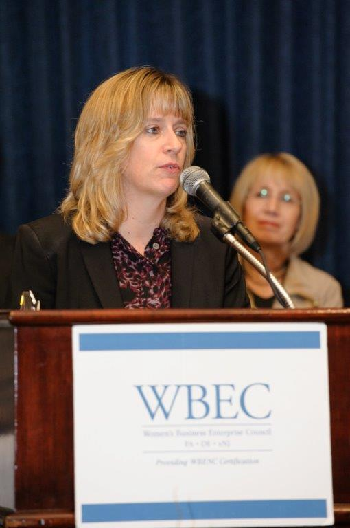 Peggy speaking at a WBEC PA-DE-sNJ event.