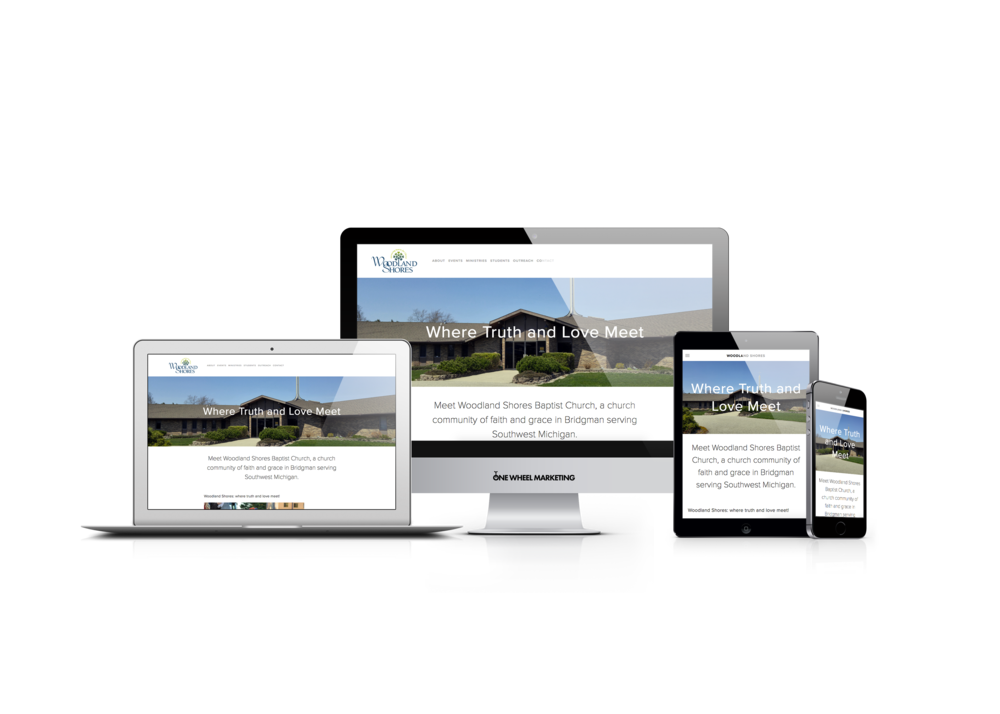 Before and After Responsive Website for Woodland Shores Church in Michigan