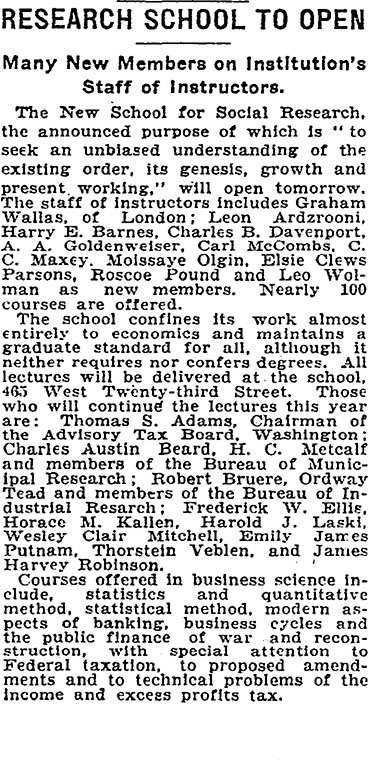 """""""Research School to Open"""". The New York Times 30 September 1919."""