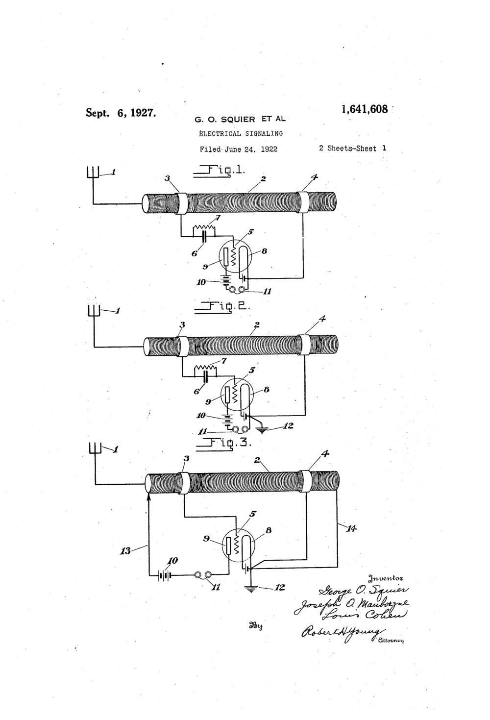 Squier, George O., Joseph O. Mauborgne, and Louis Cohen.  Electrical Signaling Patent 1.641.648:   Sheet 1 of 2.  06 Sept. 1927.