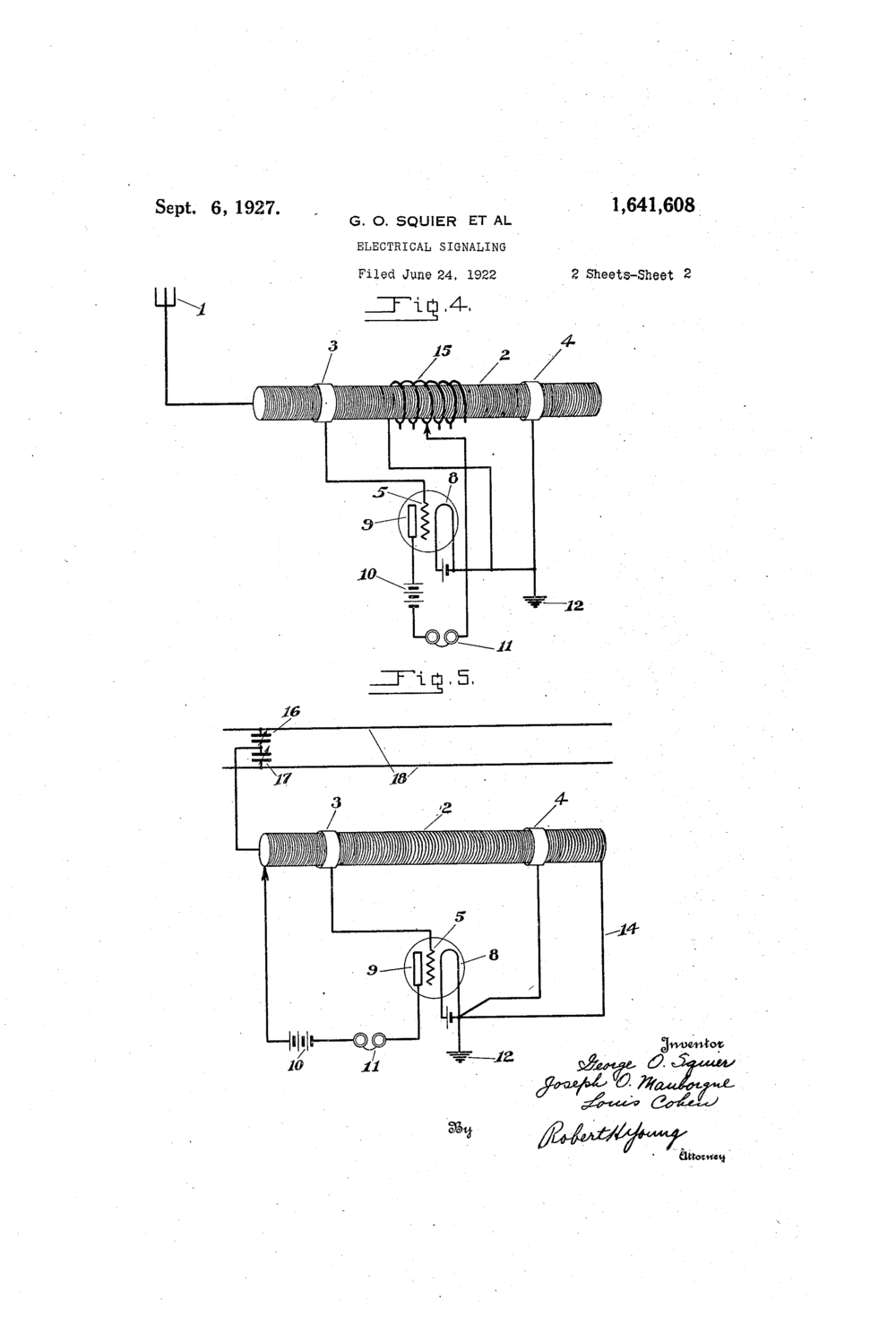 Squier, George O., Joseph O. Mauborgne, and Louis Cohen.  Electrical Signaling Patent 1.641.648:   Sheet 2 of 2.  06 Sept. 1927.