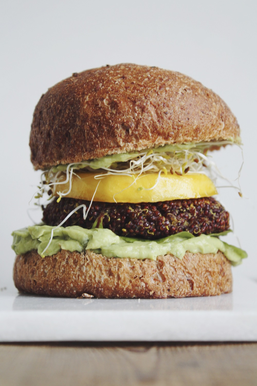 Veggie quinoa burgers with parsnip and mango