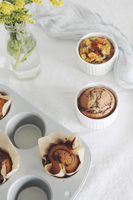 Egg frittata muffin and banana chocolate muffin