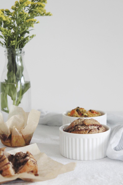 Banana swirl muffin and egg vegetable frittata muffin