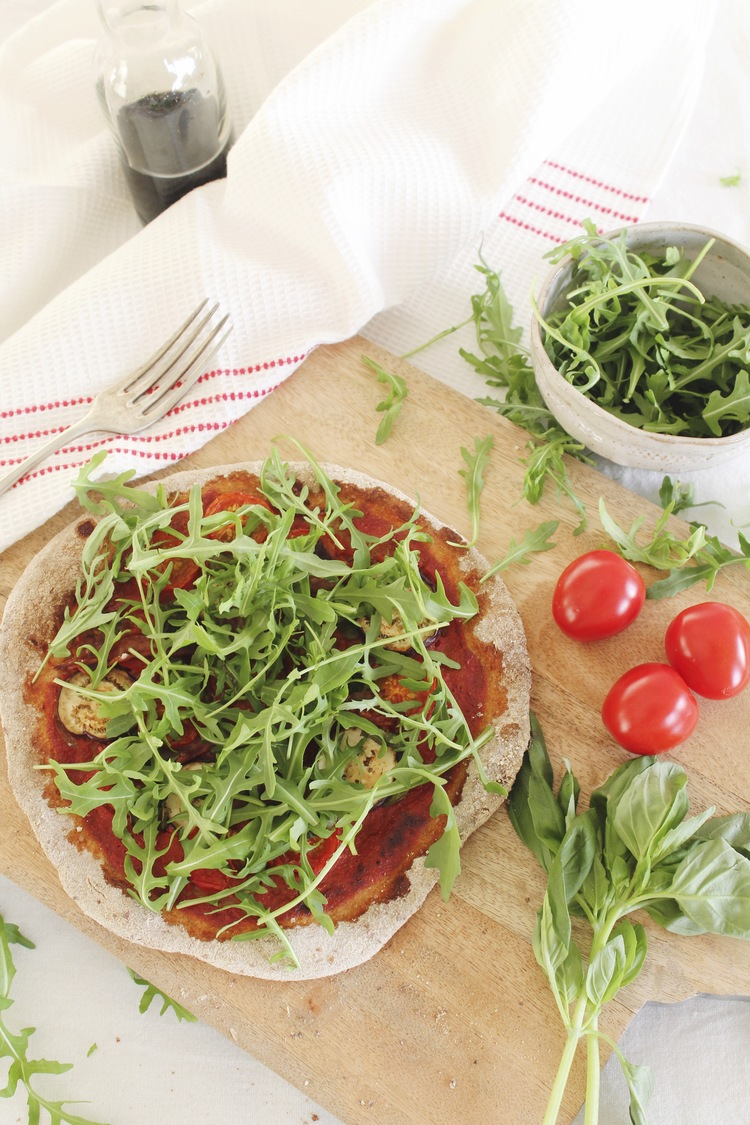 Spelt rustic pizza eggplant