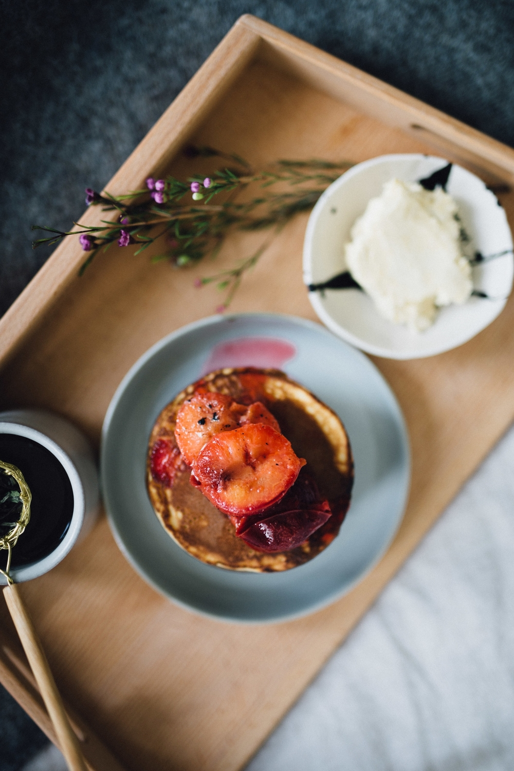 Kefir pancakes with vanilla poached plums