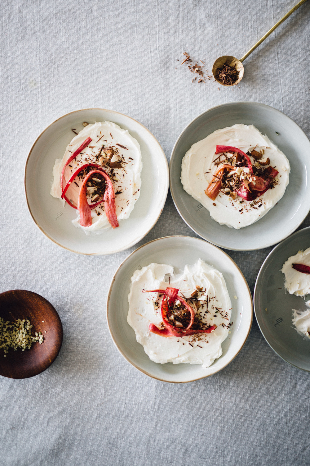 Labneh with honey roasted rhubarb
