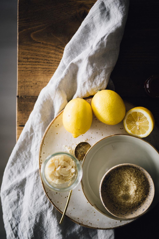 Easter lemon almond cake with chocolate eggs