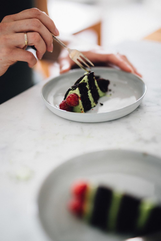 Celebratory chocolate cake w/ matcha green tea buttercream frosting