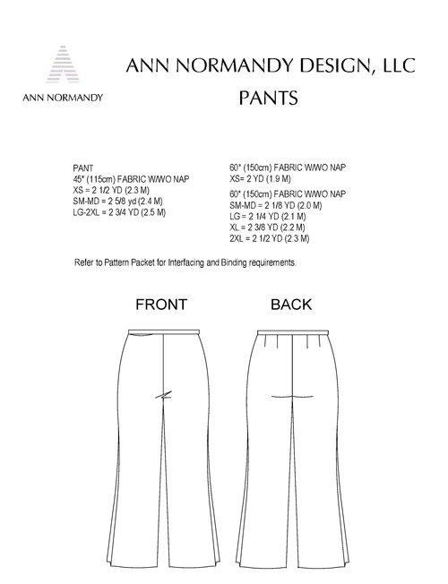 Pant PDF Sewing Pattern — Sewing Patterns   Ann Normandy Design