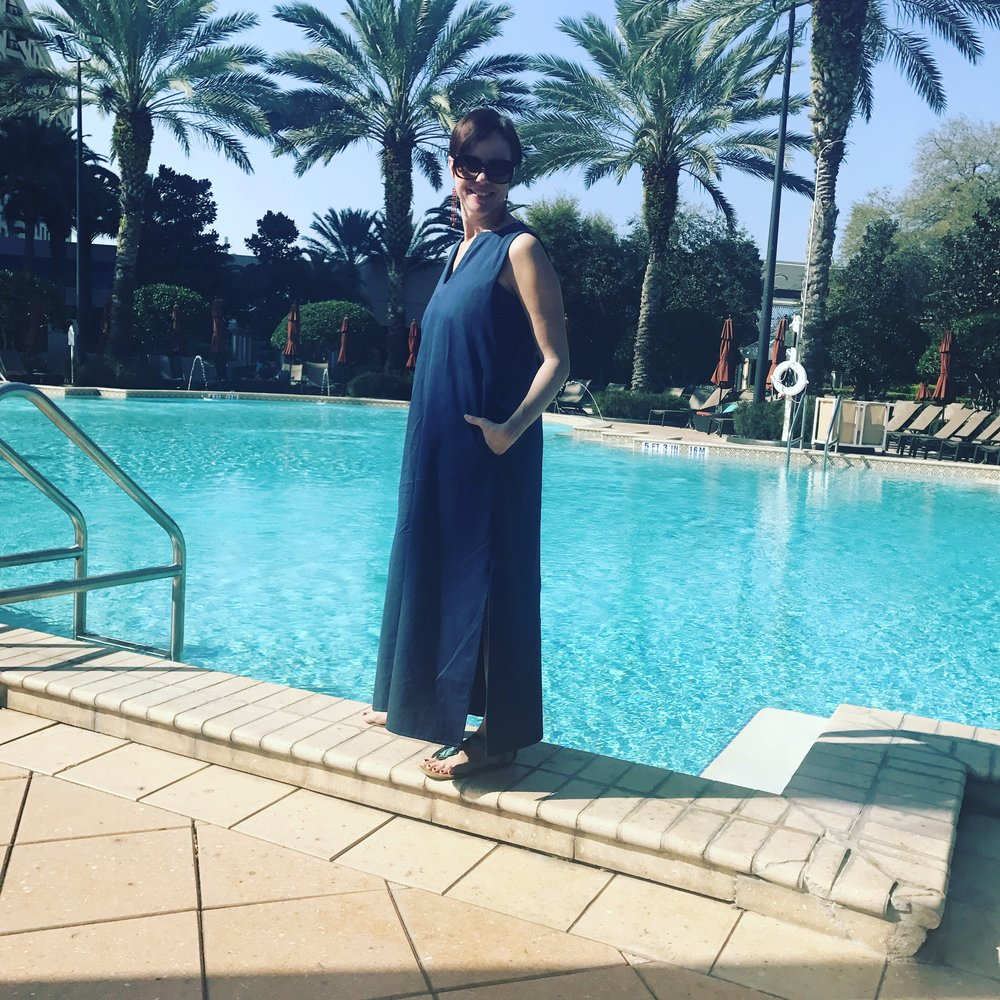 Ann Seigle in her Ann Normandy Design Maxi Dress. Perfect as a chic poolside coverup.