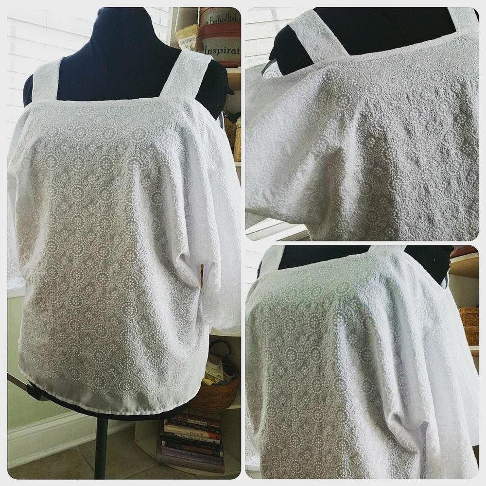 Instagram user and lovely client @studiotkb's Ann Normandy Design Cold Shoulder Tunic Top in a gorgeous cotton eyelet fabric