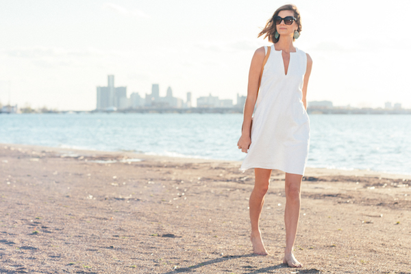 The Ann Normandy Design Sleeveless Shift Dress PDF sewing pattern , made with a medium/heavy weight reclaimed, handwoven, French linen. Photo credit: Photographer: Remy Roman, Detroit; Model: Closet Confessional Style Blogger, Dana Frost. Location: Belle Isle, Detroit.