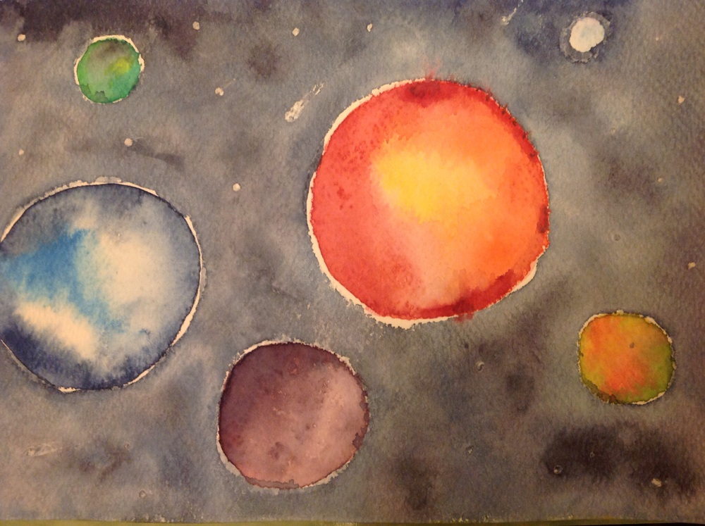 """Space"" watercolor by Renee Holland Chang 7/2015"