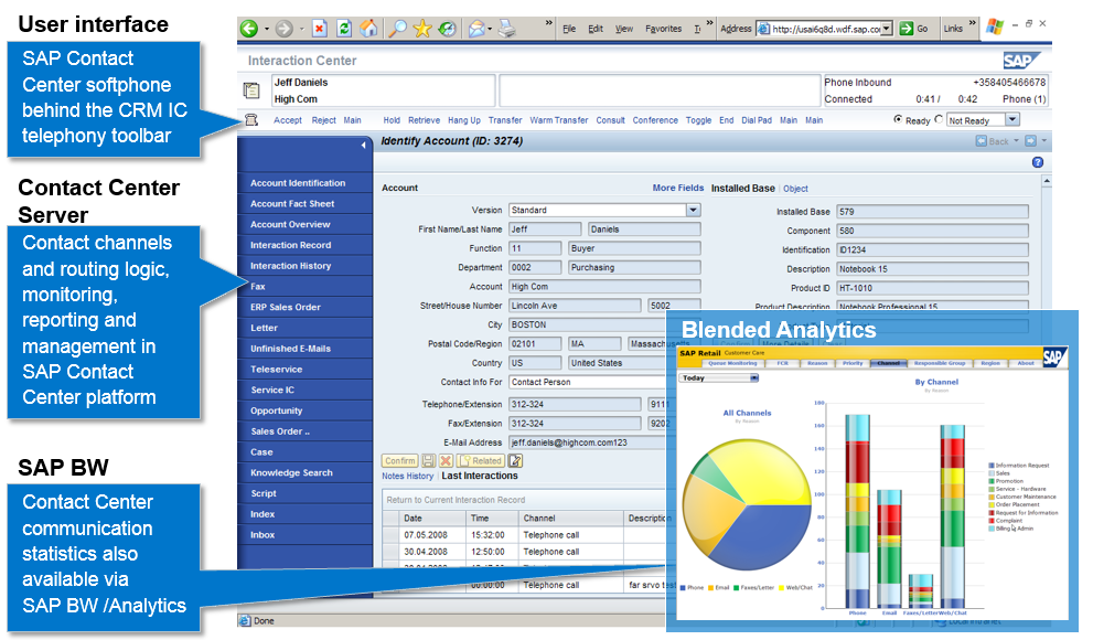 Blended analytics combines Contact Center reports with business applications data from ERP and CRM systems