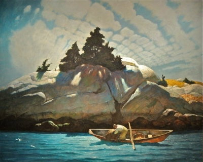 """N. C. Wyeth's """"Lobstering Off Black Spruce Ledge."""" Go to the Portland Museum of Art, and be staggered."""