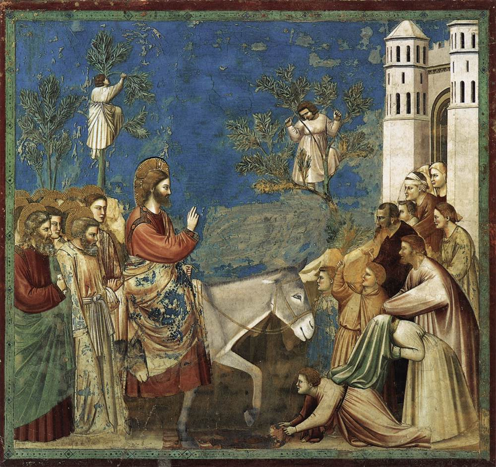 "This is Giotto's ""The Entry into Jerusalem"" (c. 1305), Scrovegni Chapel, Padua."