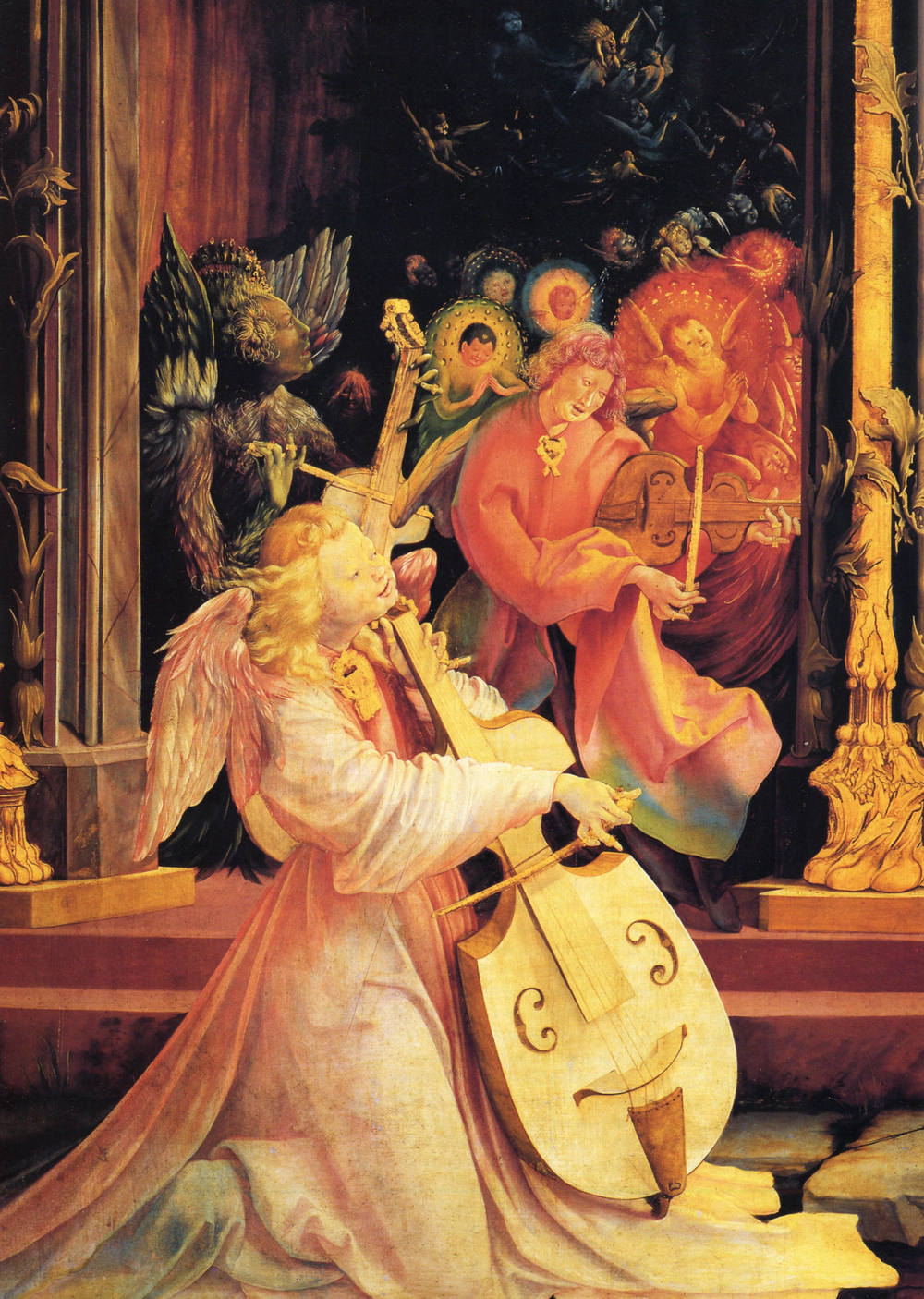 """Detail from """"Concert of Angels and the Nativity,"""" by Matthias Gr ünewald, on the Isenheim Altarpiece (1512-1516)"""