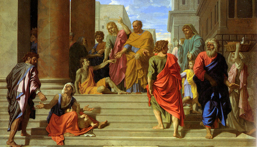 Saints Peter and John Healing the Lame Man  by Nicolas Poussin, 1655
