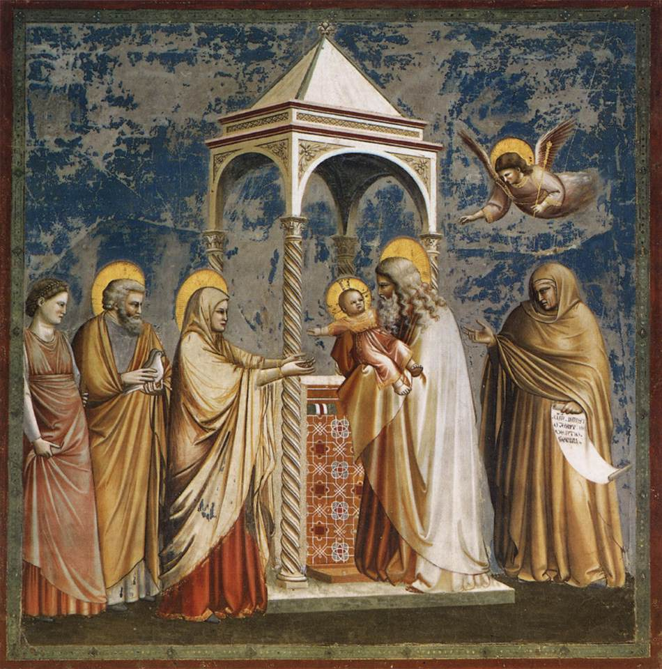 The painting is by Giotto, c. 1306, Scrovegni Chapel, Padua.