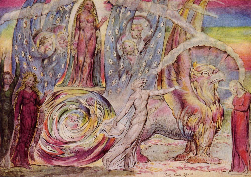 "The image is by William Blake, who spent the last years of his life preparing illustrations for Dante's ""Divine Comedy."" This is plate 91, depicting Beatrice atop the merkabah chariot representing the Church, which is pulled by the gryphon symbolizing Christ (from ""Purgatorio,"" Canto 30, lines 60-146)."