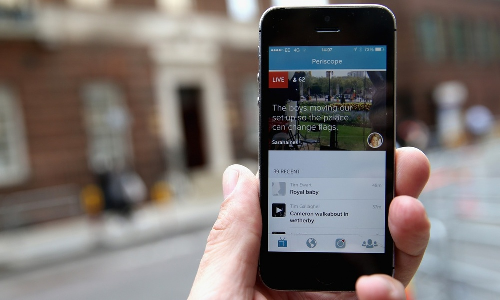 Users Periscoping the royal birth. Photograph: Chris Jackson/Getty Images