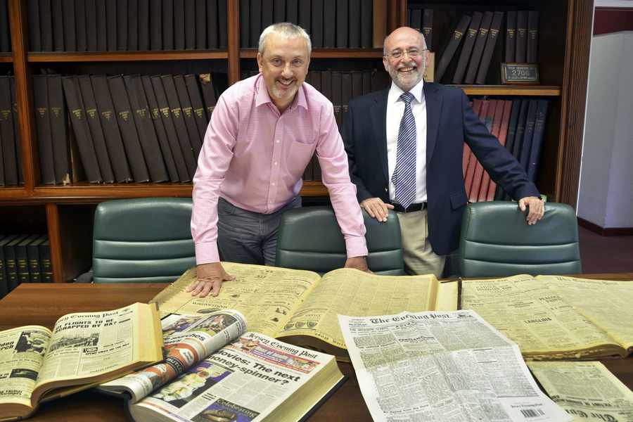 Paul Carter, managing director of the Jersey Evening Post (left), with Jack Knadjian, managing director of Kodak Print Services