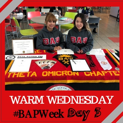 Day 3 of #BAPWeek is Warm Wednesday! 🧤🧣 With the unpredictable Las Vegas weather, a great way to stay warm is with your BAP hoodie! Shoutout to Fande, our Professional Activities Director, and Joanna, our Engagement director, for repping our BAP hoodies today at the Involvement fair! If you're interested in bringing back the hoodies, let us know in our BAP Application due TOMORROW, 1/31 at 6pm or reach out to our leadership team. Share your favorite Warm Wednesday picture to social@unlvbap.org or tag us and a winner will be chosen for next week's Warm Wednesday.