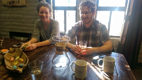 Anna and David in their shop, Yellow Brick Coffee.