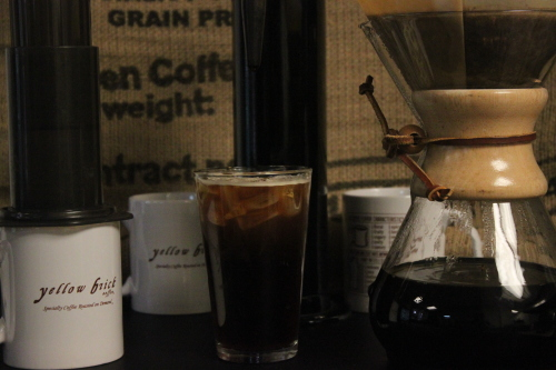 From left to right: aeropress brew, cold brew with nitro, and the chemex brewer.